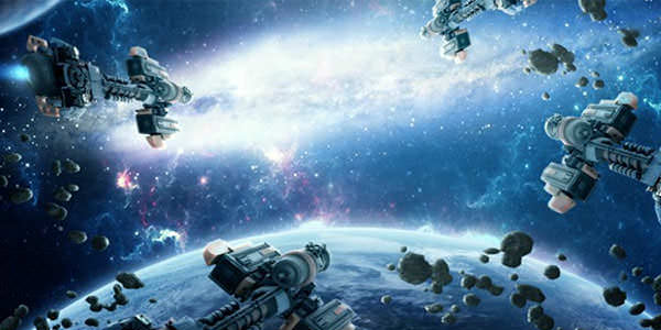 Create a Dramatic Scene for Spaceships in Galaxy